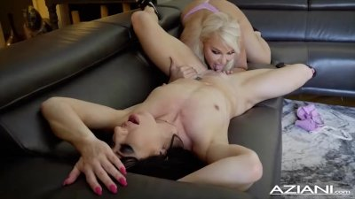 Sexy Lesbian fun Blonde and Brunette play