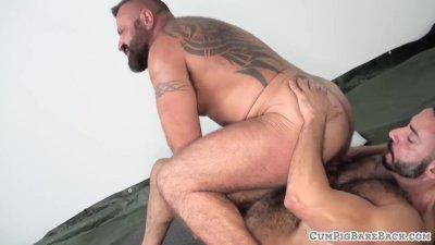 Facesitting bear getting doggystyle slammed