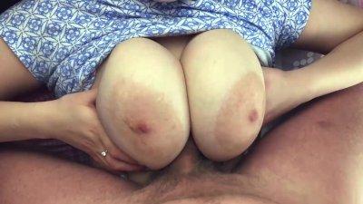 I love the big tits of my hot GF-Pov tit fuck, blowjob, fuck and cum on ass