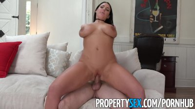 PropertySex - Sex addict tenant with big tits fucks landlord