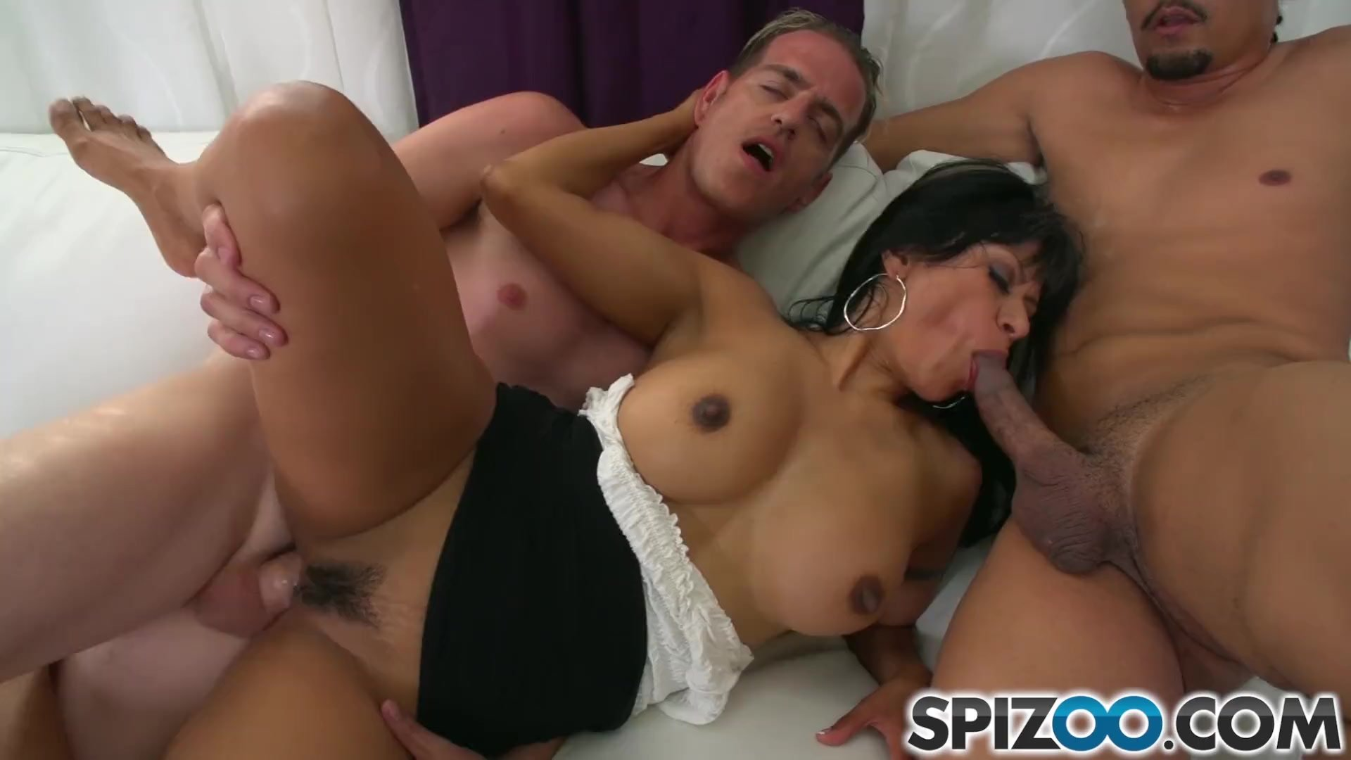 Spizoo - Gabby Quinteros is fucked by two big dicks, big booty & big boobs