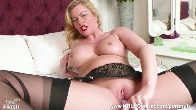 Hot Milf Holly Kiss toys wet pussy in black nylons kinky high heels garters