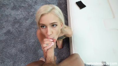 98lbs 19 year old pleasing the biggest cock she's ever had