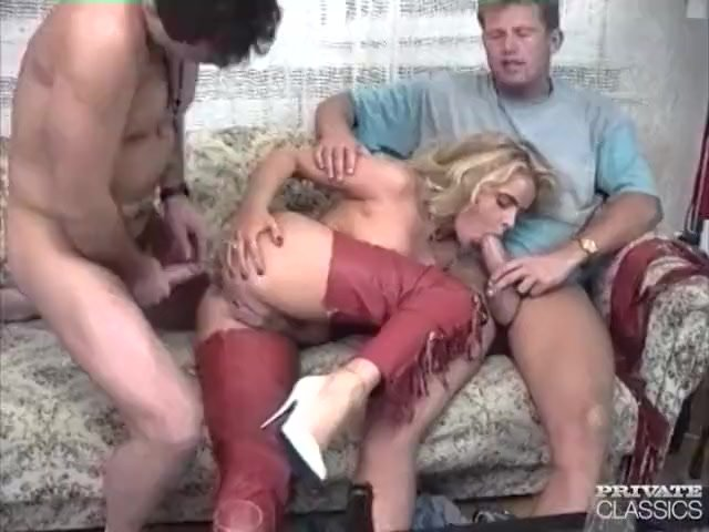 Horny Blonde gets a DP threesome