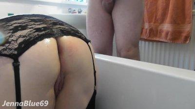 Big Ass Sexy Water Enema Squirting followed by Balls Deep Anal - Naughty!