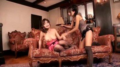 Japanese lesbians strapon fuck