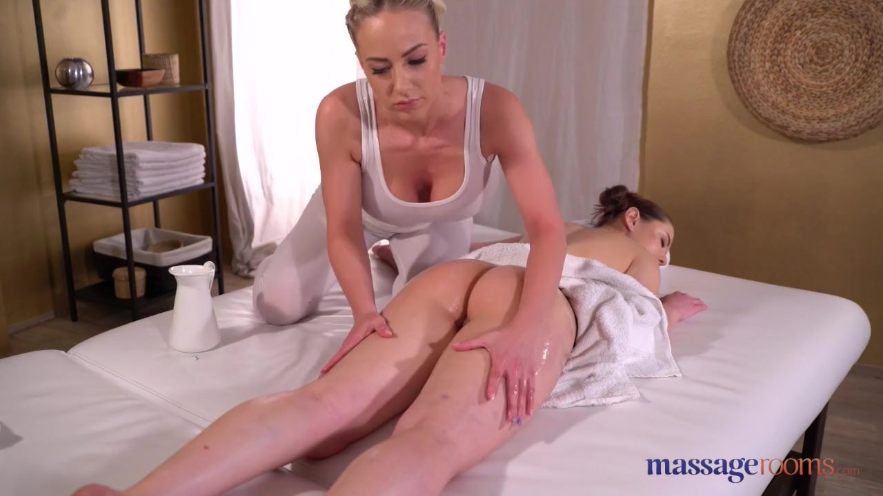 Massage Rooms Sybil Kailena and Nathaly Cherie oil drenched lesbian sex