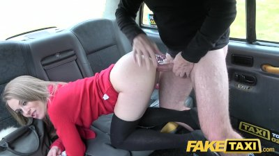 Fake Taxi Petite blonde takes dildo and cock in backseat orgasms