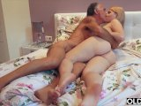 nympho sucks grandpa cock and has sex with him in her bedroomPorn Videos