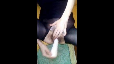 Teen masturbate huge dildo + DP + huge cum HD