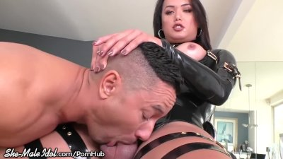 Latex T-Girl Uses Huge Dick to Dominate Greedy Hunk's Hole