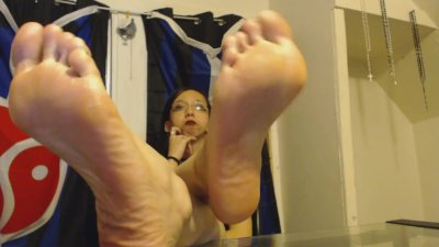 Mean Mistress Rushes you to Clean Her Feet with your Tongue and Mouth