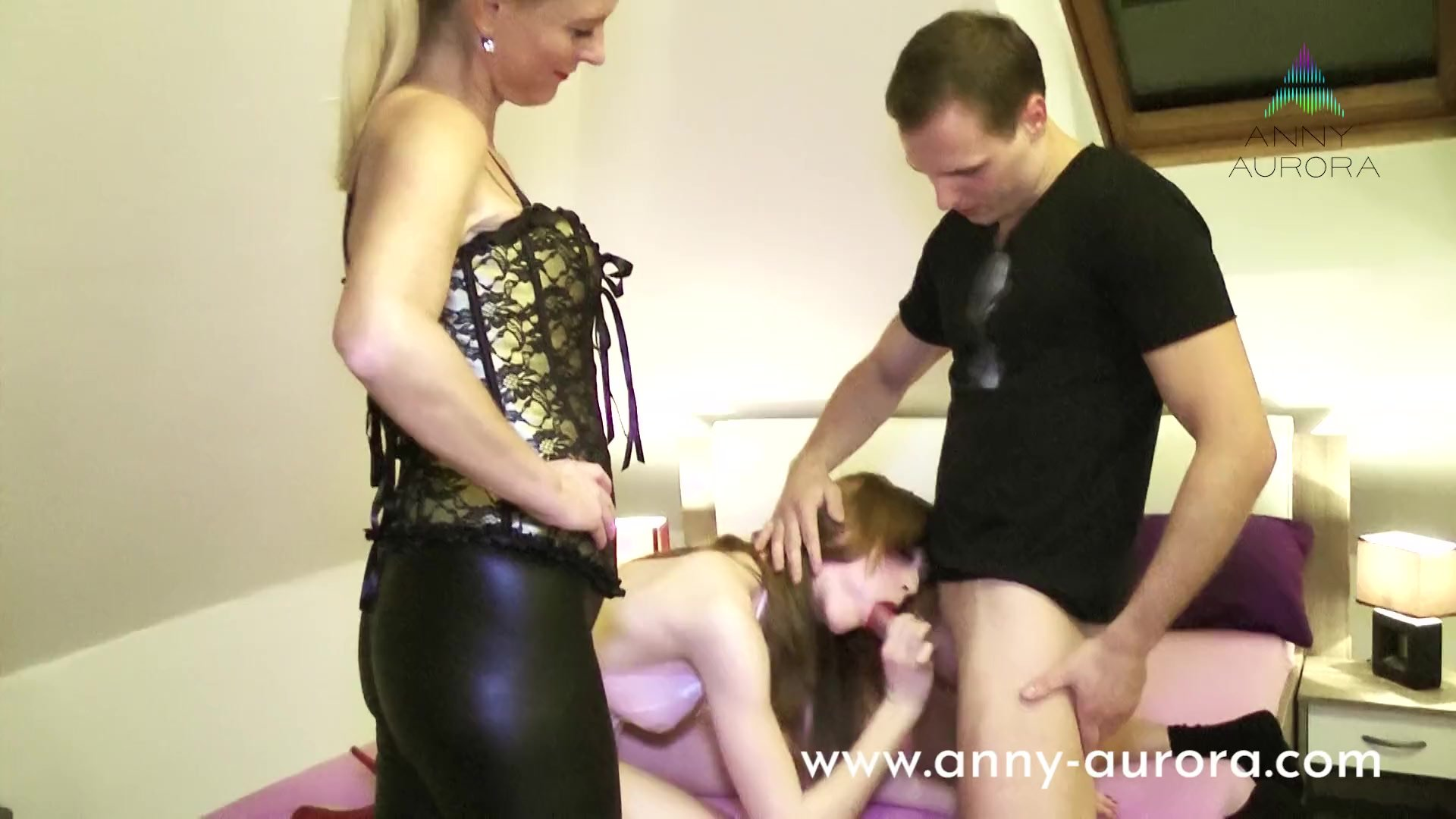 Threesome Porncasting with MILF Dirty Tina and Teen Anny Aurora