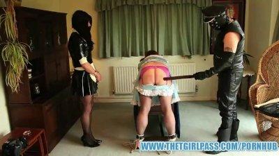 Naughty TGirl maids bondage spanking punishment for caught playing together