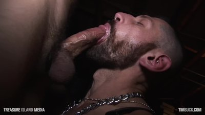 Leather pig facefucked in gay bar basement