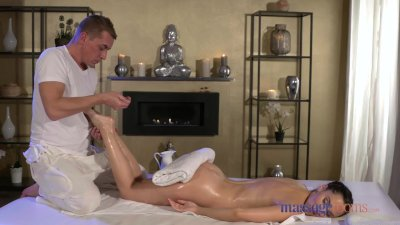 Massage Rooms Sexy brunette's squirting orgasms