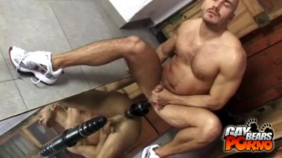 Muscled Bear Dildo Fucking With A Mirror