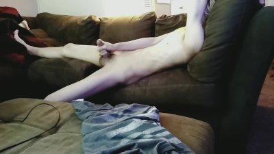 Enjoying my shower of cum on the sofa