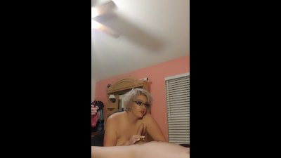 Amateur blonde wife ties husband down and swallows