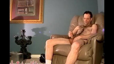 Hairy amateur dude strokes his big dick and sprays big load