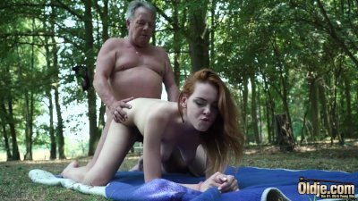 Sexy young redhead seducing grandpa and has incredible sex with him