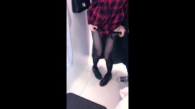 Cute schoolgirl does public blowjob in fitting room - amateur teen Reislin