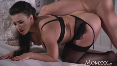 MOM Busty sexy French MILF in black stockings lingerie and high heels