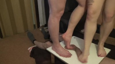 two pairs of merciless legs trample cock and balls4 - CBT trampling