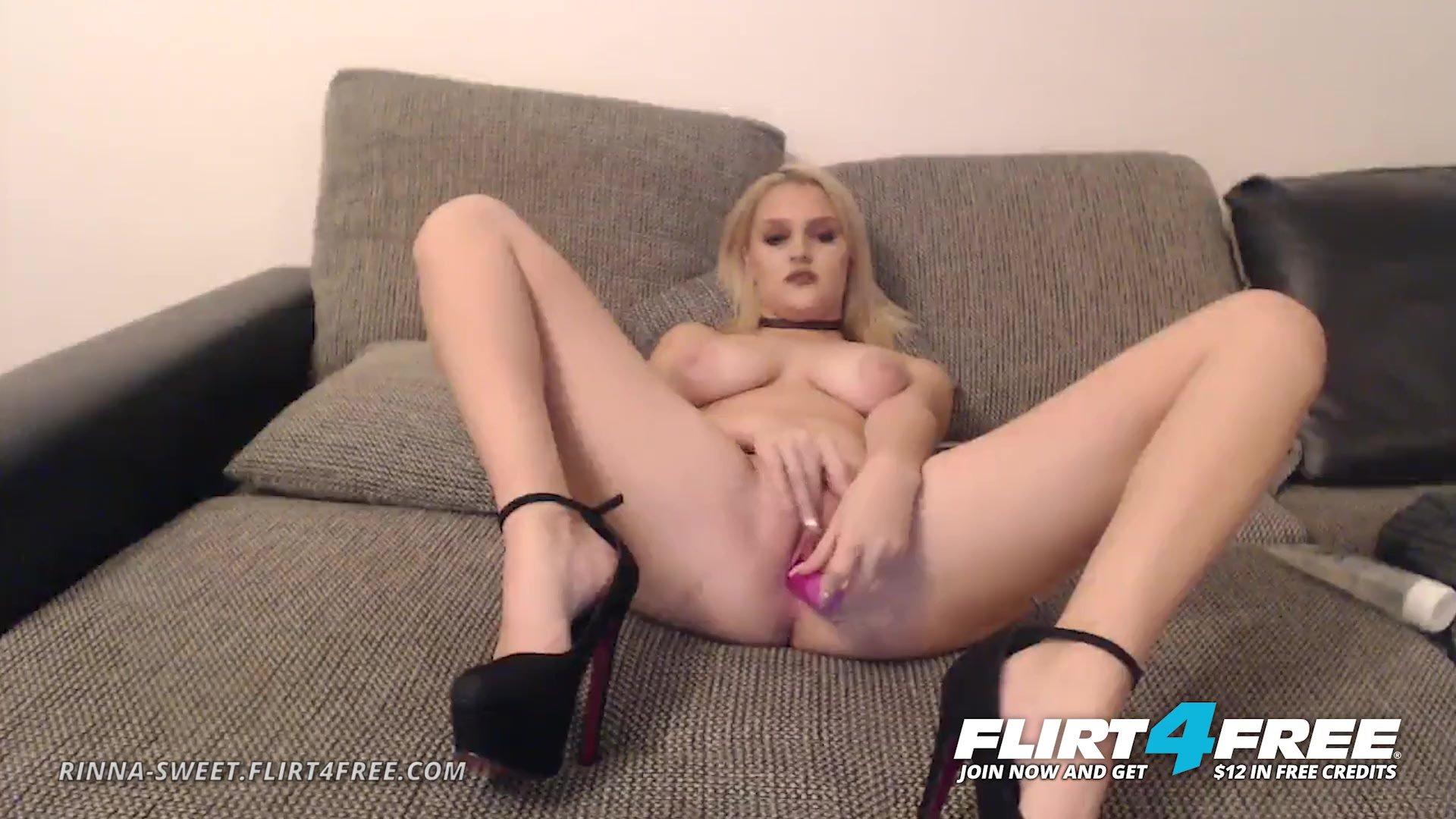 Rinna Sweet on Flirt4Free - Sweet Blonde Euro Babe Makes Her Wet Pussy Cum