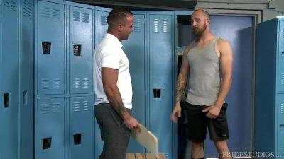 ExtraBigDicks Cute Hairy Latino Trainer Analized In Locker Room