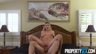 PropertySex - Gorgeous blonde with natural big tits fucks her new landlord