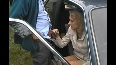 Old grey haired guy fucks younger woman outdoors