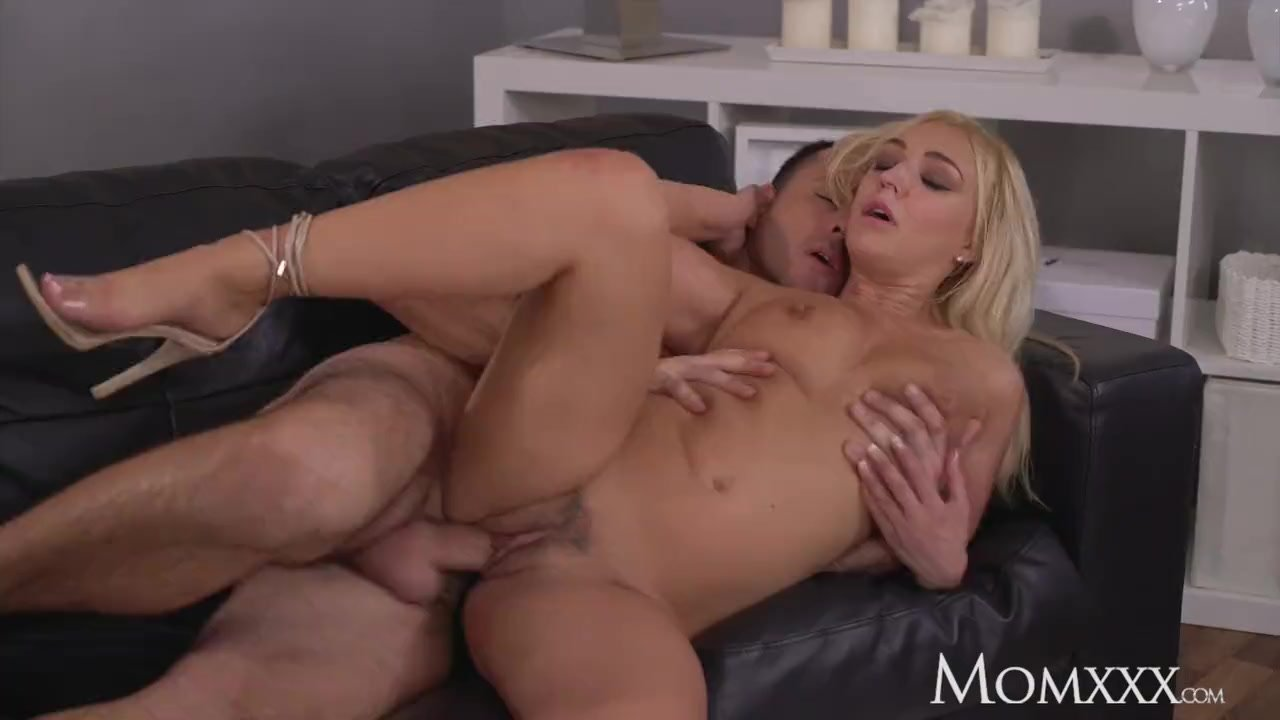 MOM Sexy British blonde in sexy evening wear takes big bendy cock