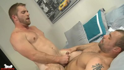 Jaxx spreads Scott's legs & shoves his tongue into his hole
