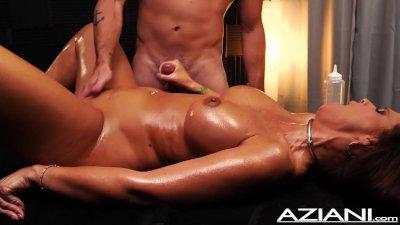Sexy oil massage jerk off with Milf