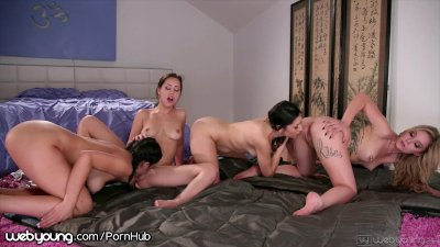 WebYoung 4 Lesbian Teens Play Spin the Bottle at Slumber Party