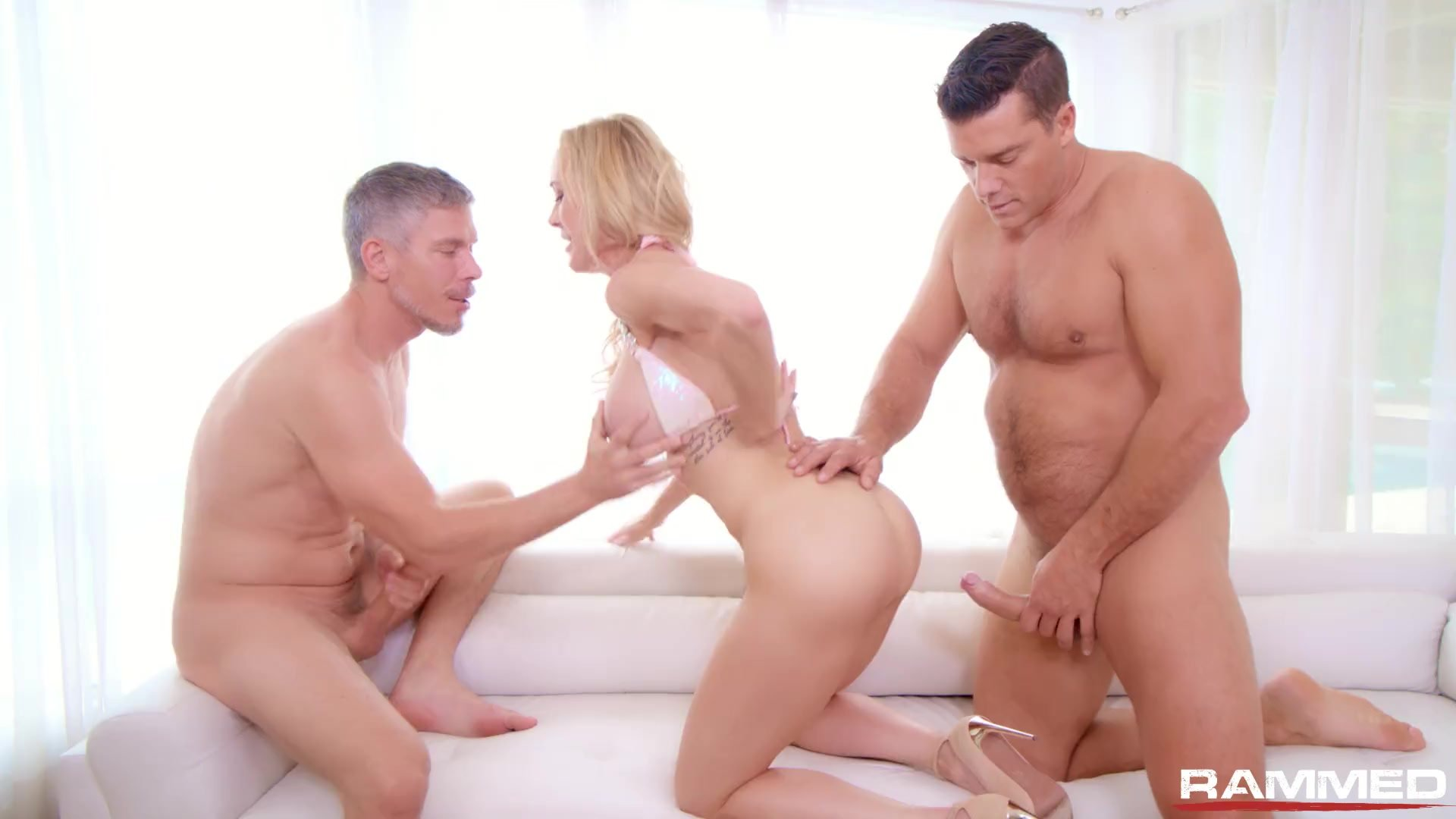Rammed - Brandi Love gets her MILF pussy used by two cocks