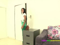 Skinny Thai girl auditions for a dancing job