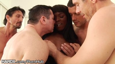 HardX Ebony Babe Ana Foxxx 1st DP Rough Gangbang w/ Big Dicks