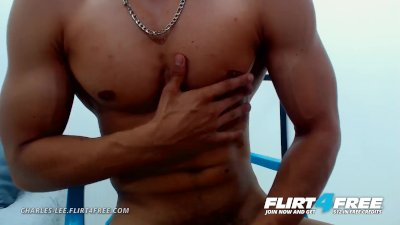 Charles Lee on Flirt4Free - Latino Stud Flexes Muscles and Jerks Uncut Cock