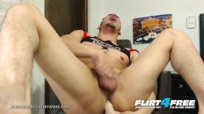Alenanders L on Flirt4Free - Athletic Gay Hispanic Slides Dildo in His Ass