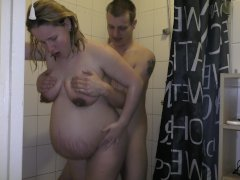38 Weeks Pregnant Showering Sex And Cumshot On Tits