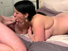 Curvy Milf Humps The Bed While Sucking Her Man Gets Load Of Cum In Mouth