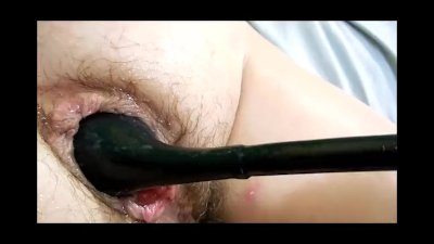 BBW anal Slave Wife take inflatable plug in asspussy