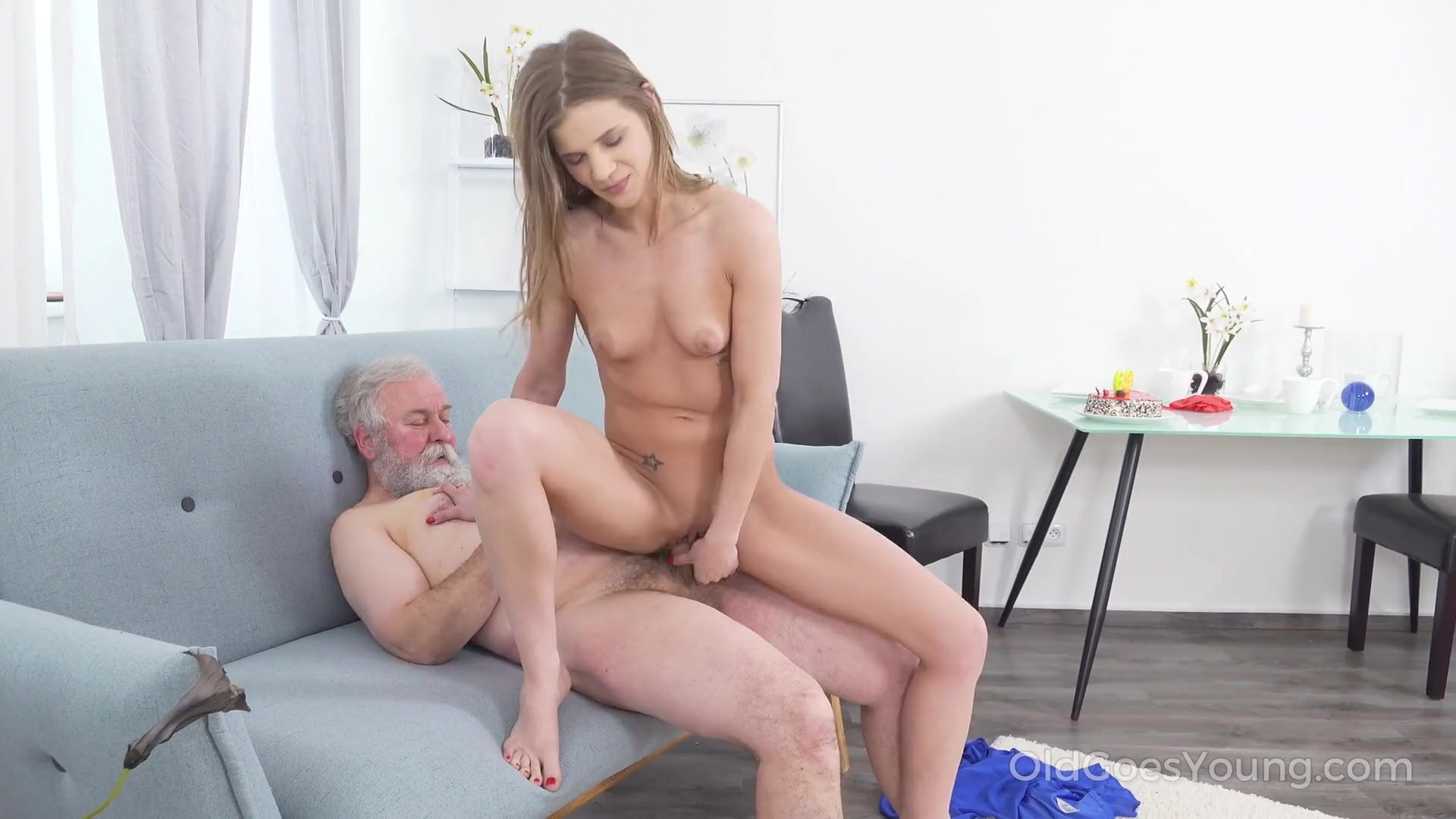 Old Goes Young - Yummy babe congratulates an old man with sex