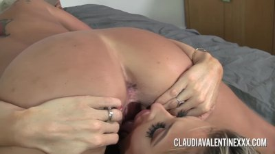 Pornstars Claudia and Courtney playing with a hitachi