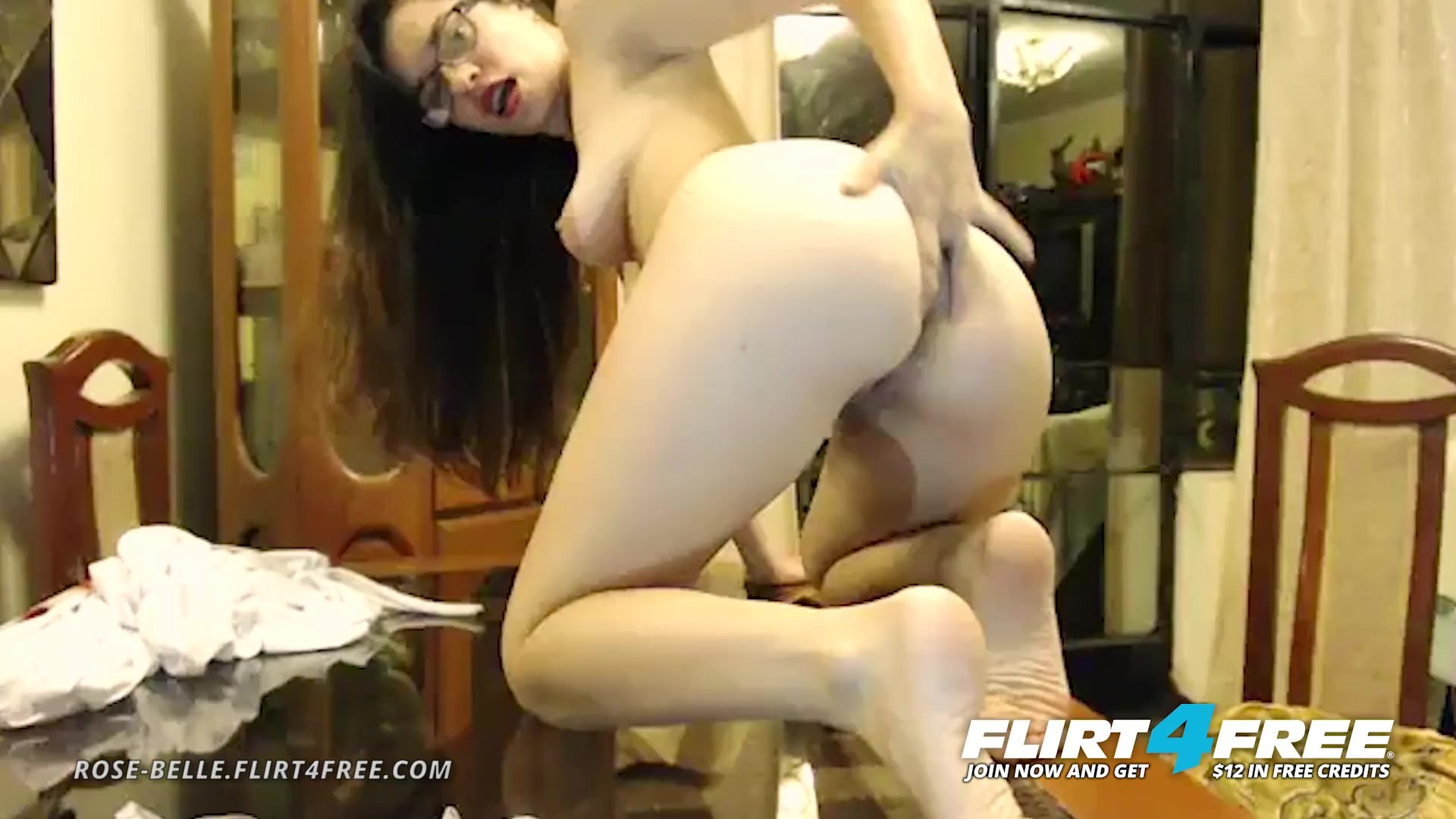 Rose Belle on Flirt4Free - Latina with Small Perky Tits Fingers Her Ass