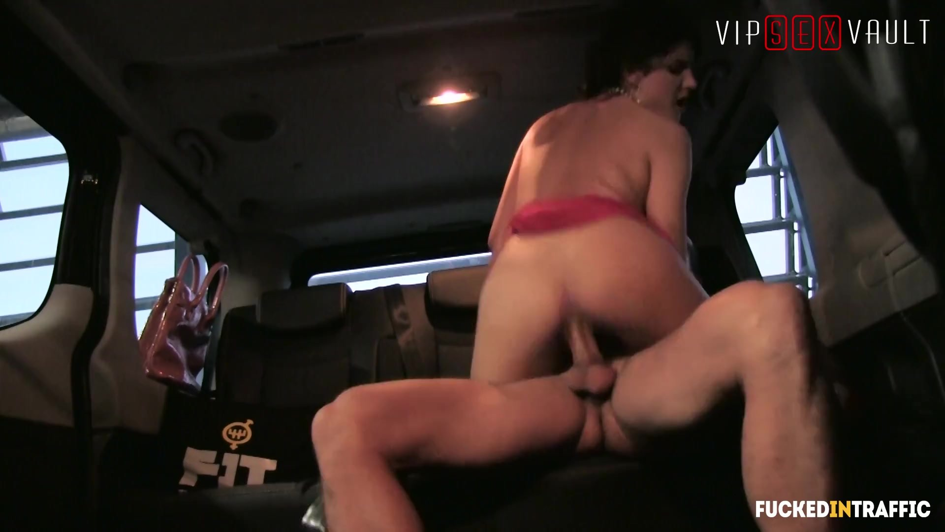 VIPSEXVAULT - Hot Brunette Teen Fucks The Taxi Driver On The Way To Airport