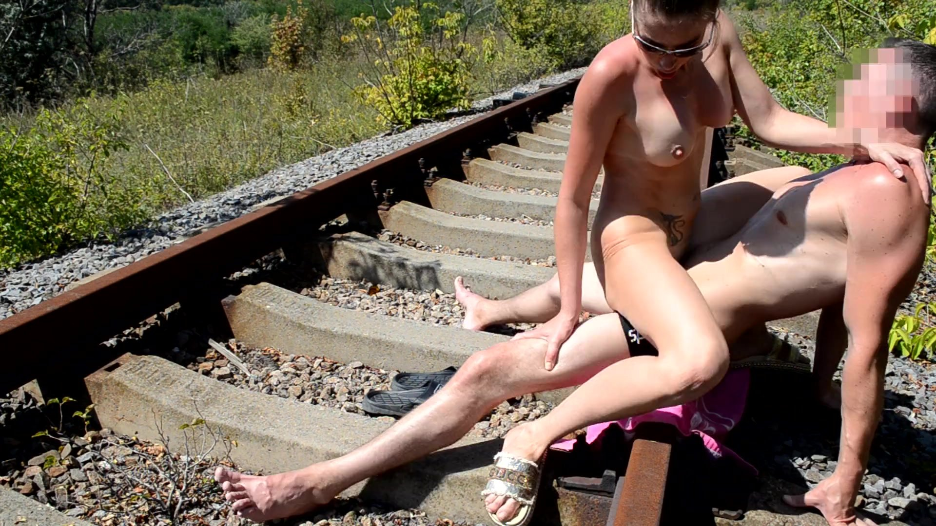 Fit girl gets cum on her face on the railroad track, amateur sex