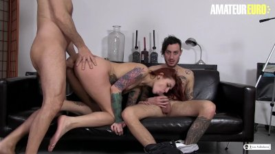 AmateurEuro -Tattooed PornStar Seduces and Fucks Lucky Amateur On The Couch